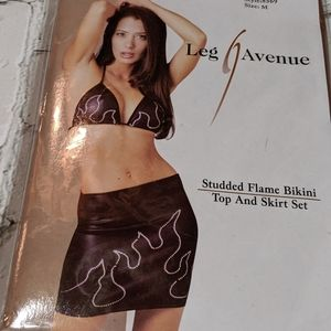 Leg Avenue studded flame skirt set RARE